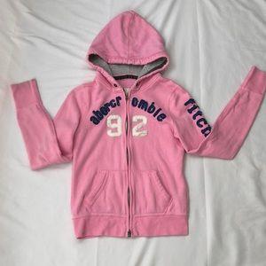 Abercrombie kids L pink zippered w/pockets jacket.